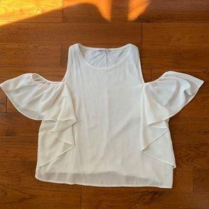 White Zara cold shoulder ruffle sleeve tank size L